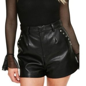 Missguided Faux Leather High Rise Studded Shorts